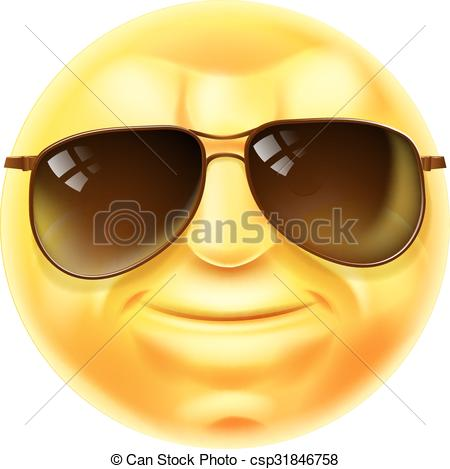Sunglasses cool emoji emoticon. A cool looking emoji. ClipartLook.com clipart vector -  Search Illustration, Drawings and EPS Graphics Images - csp31846758