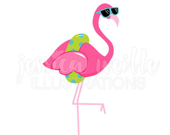 Sunglasses Flamingo Cute Digital Clipart-Sunglasses Flamingo Cute Digital Clipart, Cute Flamingo Clip art, Tropical Summer Graphics, Flamingo in a Floatie Illustration, #381-19