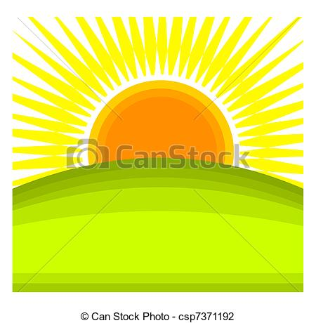 ... Sunrise - Sun rising behind green hill horizon. Vector.