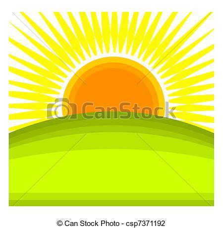 ... Sunrise - Sun rising behind green hill horizon. Vector.
