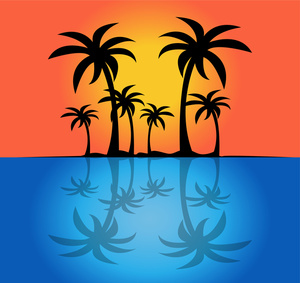 Sunset island clipart image silhouette o-Sunset island clipart image silhouette of palm trees on a tropical-10