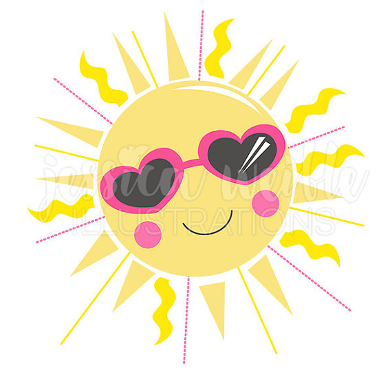 Sunshine Cutie Cute Digital Clipart, Sun Clip art, Summer Graphic, Illustration, #