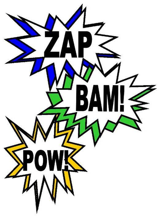 super hero words clip art