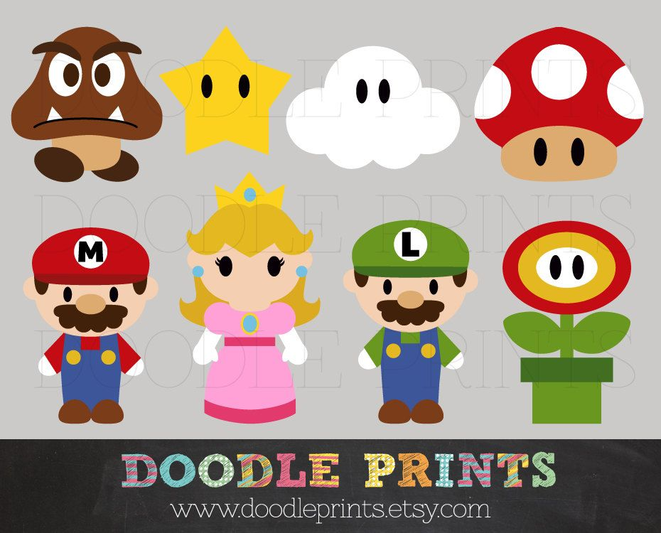 Mario Bros Clipart, Digital Clip Art Printable, Super Mario Clipart Design  - Mario, Luigy, Peach, etc Digital Images - PERSONAL USE ONLY