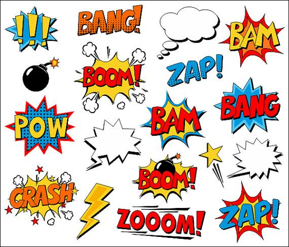 Superhero Clipart Comic Book Clip Art Comic Text Speech Bubbles - Boom, Zap, Bang