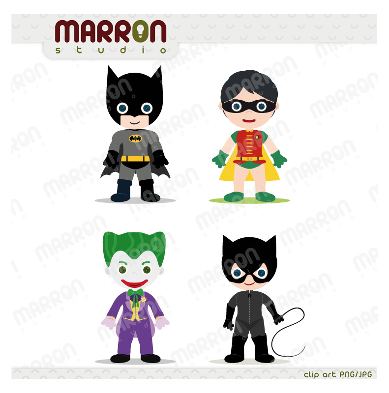 Super heroe inspired set batman, robin, joker and catwoman clip art  birthdays digital download