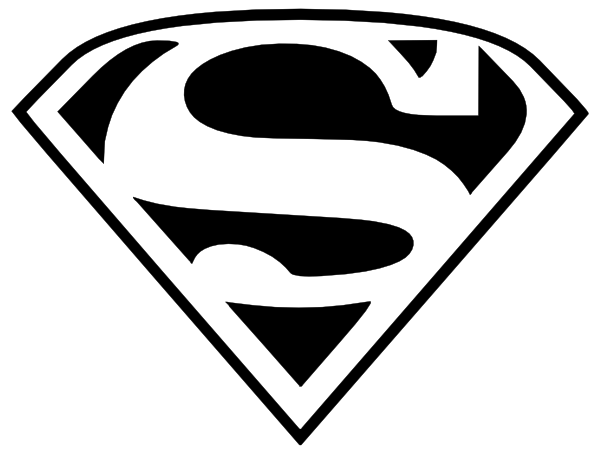 Superman Clipart - (Black and White)