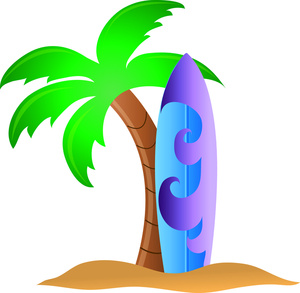 Surfboard beach surf board clipart