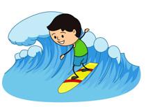 Surfer Riding Large Wave Clipart Size: 203 Kb