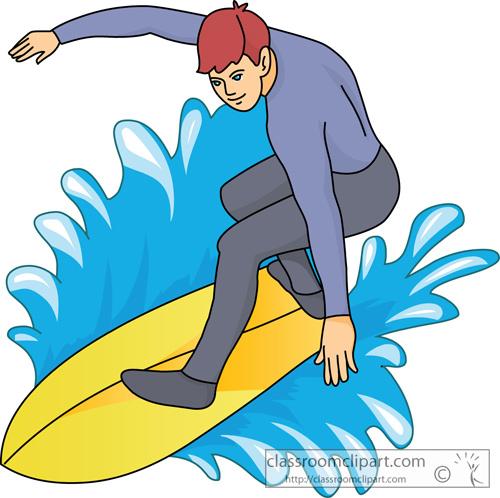 Surfing Clipart Surfer Wearing Wet Suit Classroom Clipart