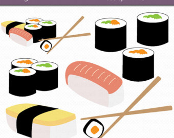 Sushi Digital Art Set Clipart Commercial-Sushi Digital Art Set Clipart Commercial Use Clip Art Instant Download Sushi Clipart Japanese Clipart Food Clipart-11