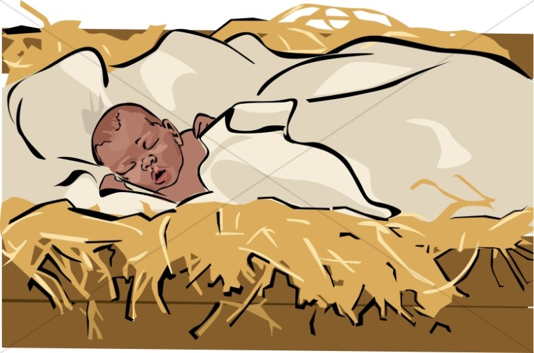 Swaddled Baby Jesus Clipart u0026middot; African American Baby Jesus in a Manger