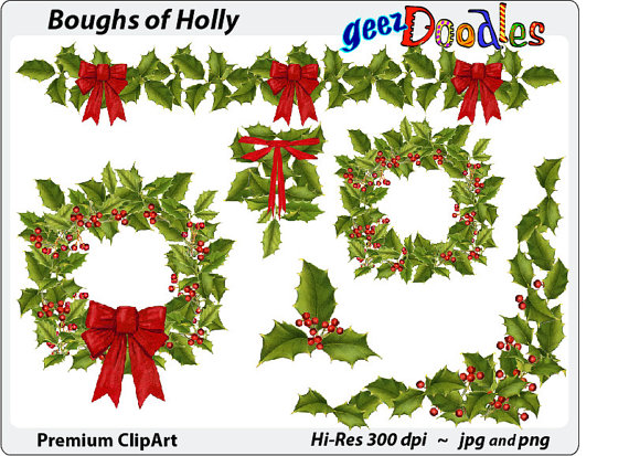 Christmas Watercolor Clipart ~ Holly clip art with wreaths, garland, swag ~  Christmas holly with berries and red bows from GeezDoodles on Etsy Studio