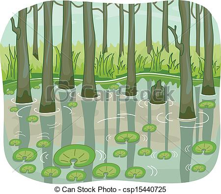 ... Swamp - Illustration of a Swamp with Lotus Leaves Floating... Swamp Clip Artby ...