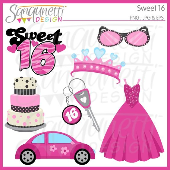 Sweet 16 clipart comes with cake, car, crown, party dress, car keys