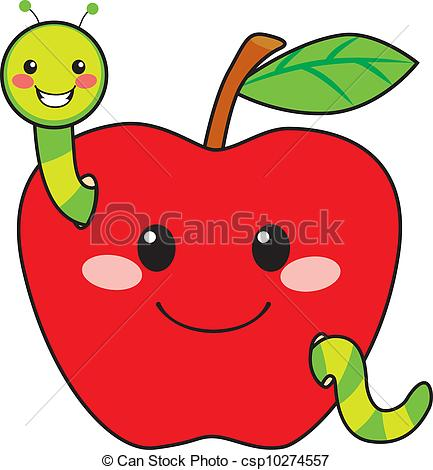 ... Sweet Apple Worm - Cute green worm happy in love with sweet.