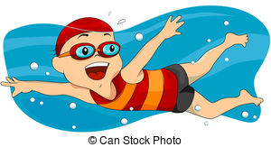 ... Swimming - Boy Swimming with Clipping Path