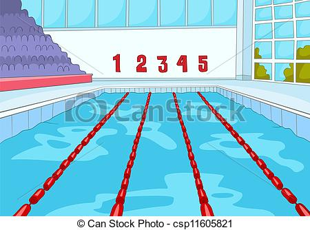 ... Swimming Pool. Cartoon Background. Vector Illustration EPS.