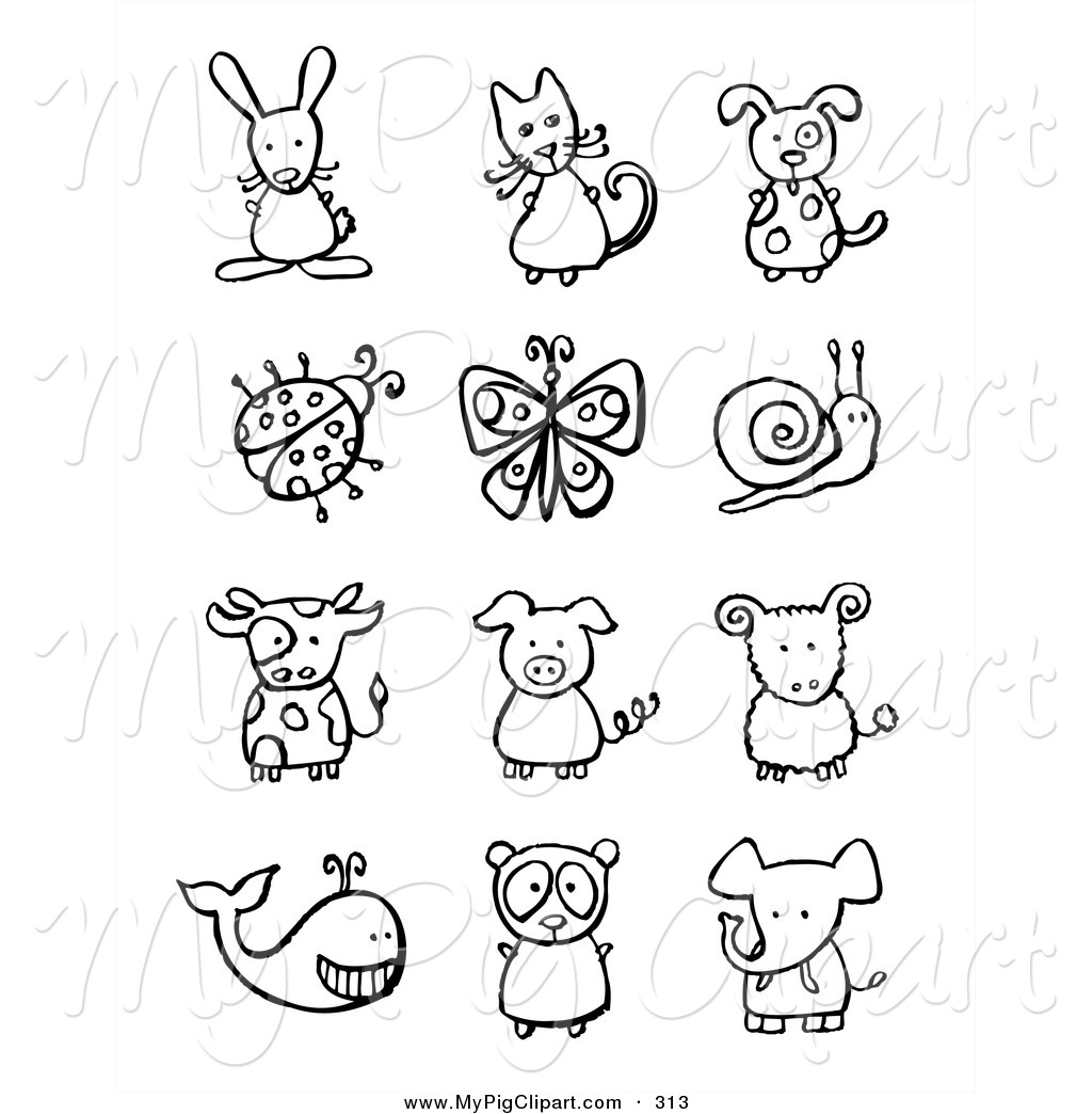 Swine Clipart Of A Digital Collage Of Black And White Animals And Bugs