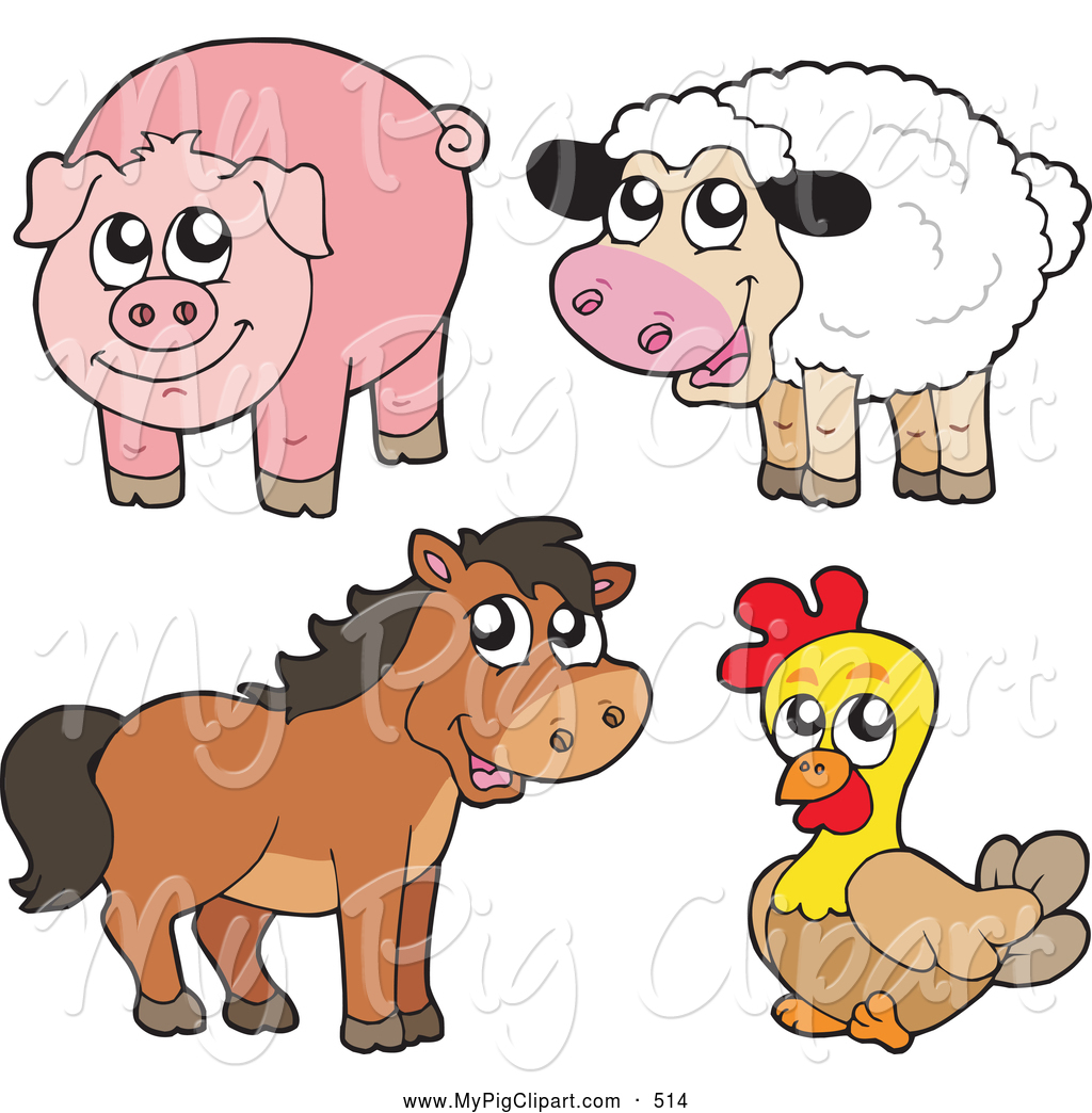 Swine Clipart Of A Farm Animal Group Cut-Swine Clipart Of A Farm Animal Group Cute Sheep Pig Horse And-19
