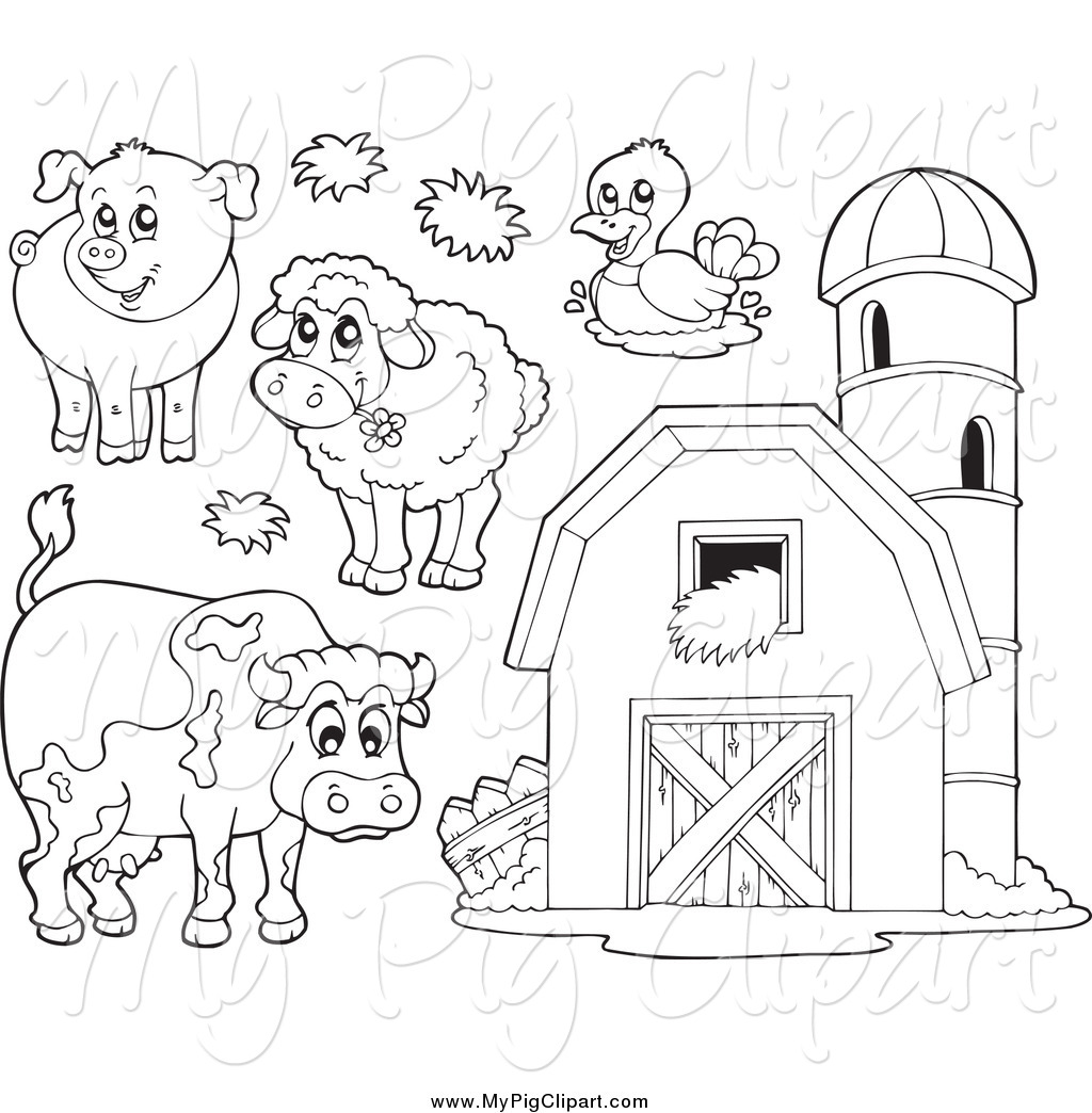 Swine Clipart Of Black And White Farm Animals And A Barn With Granary