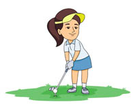 swing golf club hitting ball. Size: 44 Kb