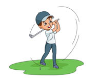 swing golf club hitting ball. - Golfing Clipart