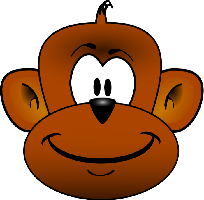 swinging monkey clipart black and white