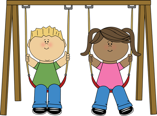 Swinging Clip Art Image Little Boy And Girl Swinging On A Swing Set