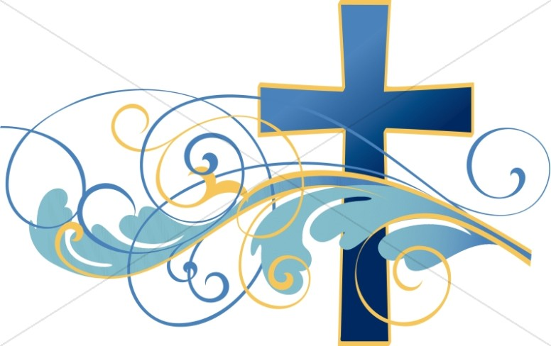 Swirls and Christian Cross Clipart