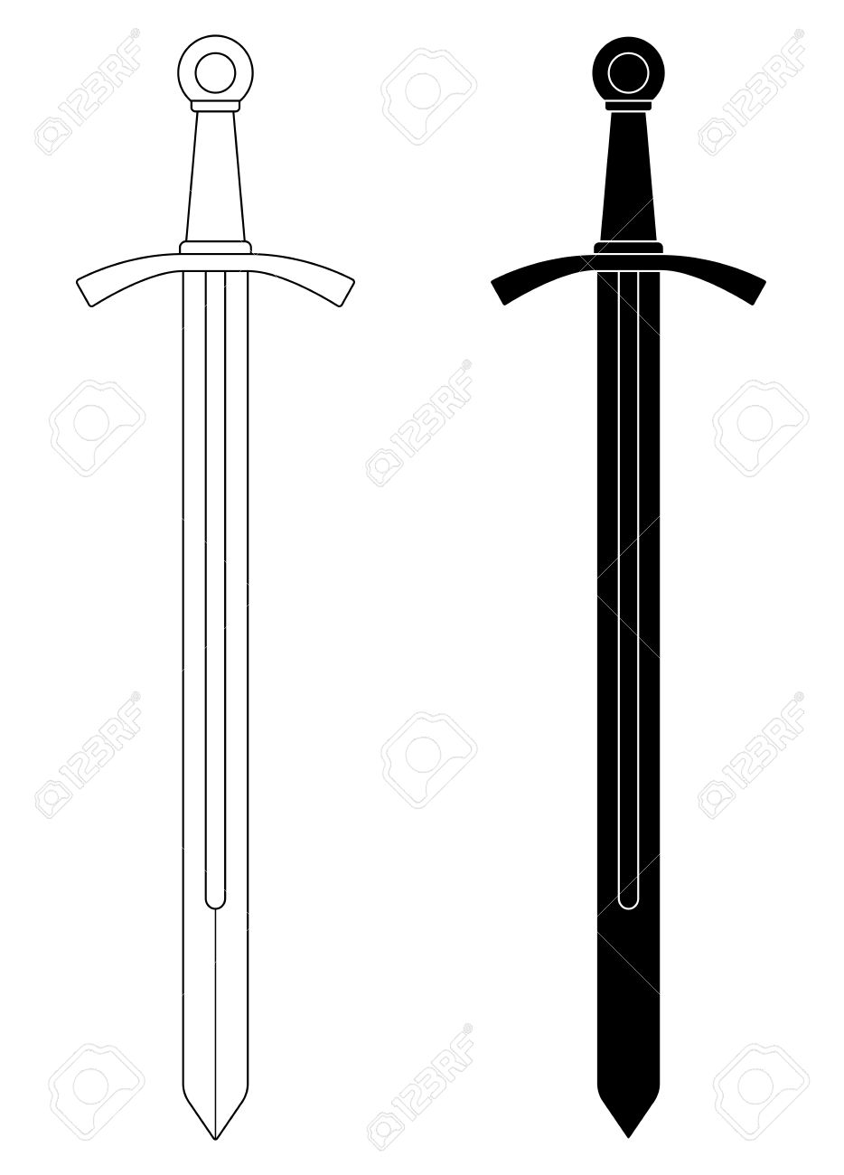 One-handed medieval knight vector sword clip art illustration isolated on  white. Contour,