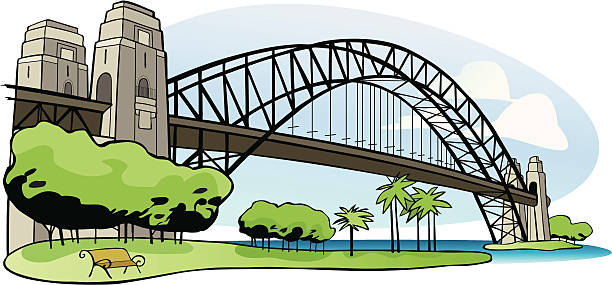Sydney Harbor bridge vector art illustration