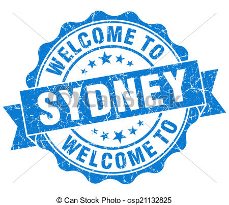 welcome to Sydney blue vintage isolated seal - csp21132825