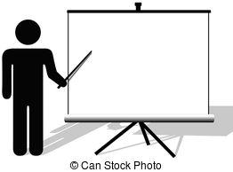 ... Symbol man points to copyspace on presentation on movie.