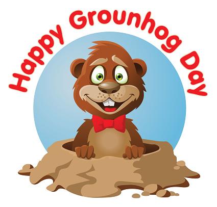 Symbol of Groundhog day vector art illustration