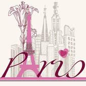 Symbols of Paris · Paris card urban architecture and lily