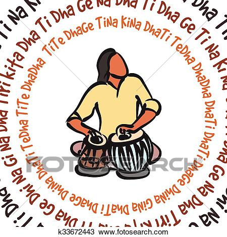 Clipart - Indian musician playing tabla.-Clipart - Indian musician playing tabla. Fotosearch - Search Clip Art,  Illustration Murals,-15