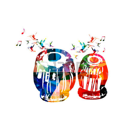 Colorful indian tabla with music notes and hummingbirds isolated. Music  instrument background vector illustration.