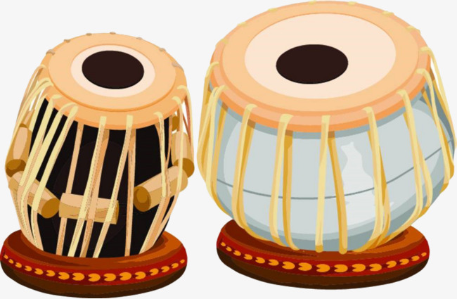 hand painted color tambourine - Tabla Clipart