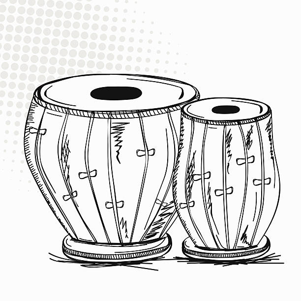 Indian musical instrument tabla. vector -Indian musical instrument tabla. vector art illustration-16