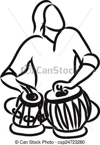 Indian musician playing tabla - Tabla Clipart