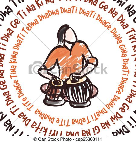 Indian musician playing tabla - Tabla Clipart