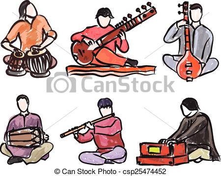 Vector set of indian musician playing traditional musical. ClipartLook.com clipart vector  - Search Illustration, Drawings and EPS Graphics Images - csp25474452