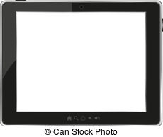 . ClipartLook.com Black generic tablet pc on white background. vector