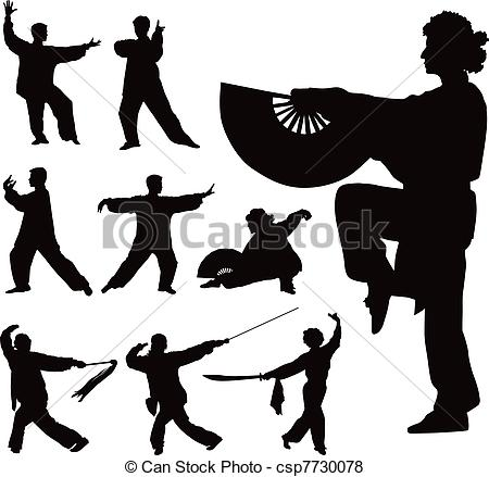 ... Tai-chi Vector Silhouettes - Nine Bl-... Tai-chi vector silhouettes - Nine black vector silhouettes.-15
