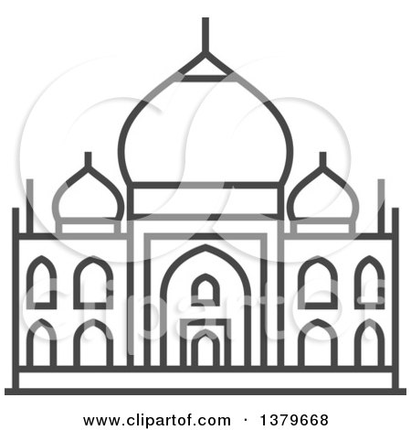 Clipart of a Grayscale Taj Mahal - Royalty Free Vector Illustration by elena
