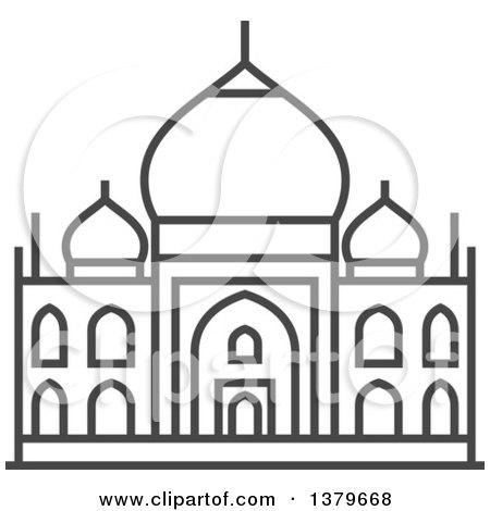 Clipart Of A Grayscale Taj Mahal - Royal-Clipart of a Grayscale Taj Mahal - Royalty Free Vector Illustration by elena-17
