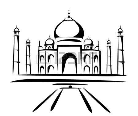 taj mahal: taj mahal vector illustration, symbol in black lines