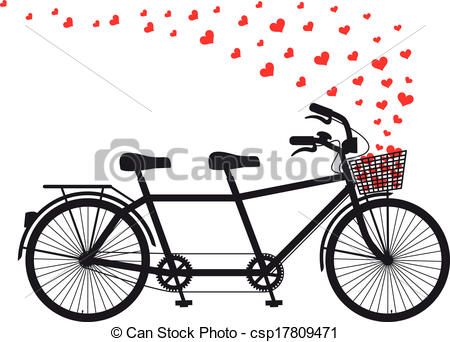Tandem Bicycle With Red Hearts - Tandem -tandem bicycle with red hearts - tandem bicycle with flying... ...-12