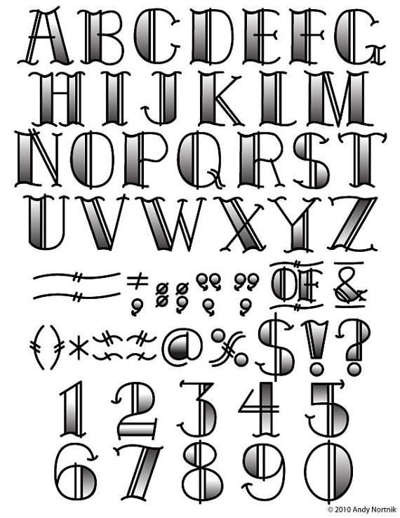 Tattoo Clip Art Clipart Fonts Vector Let-Tattoo Clip Art Clipart Fonts Vector Lettering Clip Art Set - Personal or Commercial Use Royalty-17